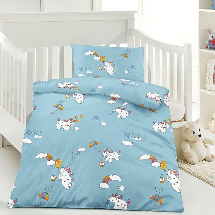 Einhorn Kinder Bettwäsche 100 x 135 cm + Kissen 40 x 60 cm