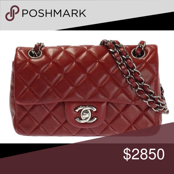 e625e80916df Authentic Chanel Red Mini Rectangular Bag Flap SHW Authentic Chanel New Mini  Flap Bag Crossbody and