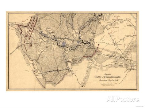 Battle of Chancellorsville - Civil War Panoramic Map Prints at AllPosters.com