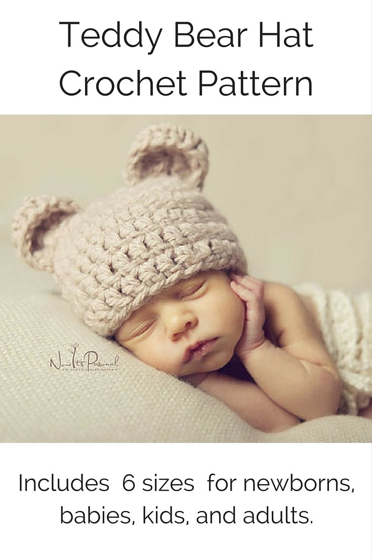 Crochet PATTERN - Crochet Bear Hat Pattern - Baby Bear Hat - Crochet ...