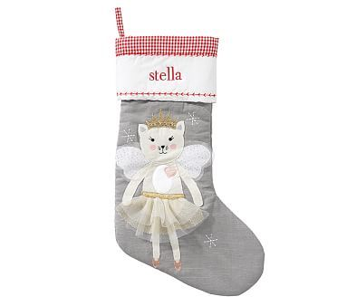 Angel Kitty Quilted Stocking Large Christmas Stockings