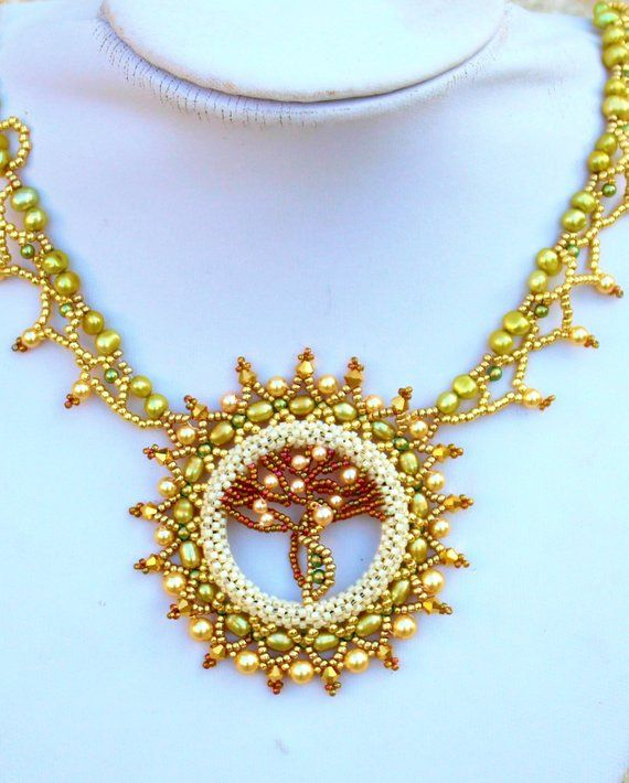 "Statement  Crystal  Pearls Necklace  Gold Green Bronze  Jewelry  ""Tree of Life"" Romantic gift"