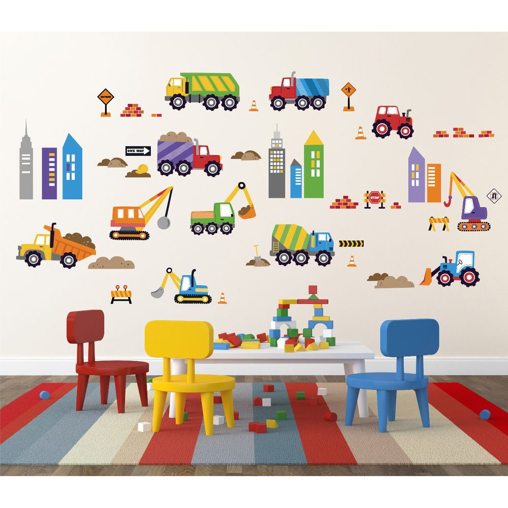City construction peel stick kids room wall decal for boys buy your city construction wall decals here instantly transform your childs room with the city construction wall decals these wall decals are perfect for amipublicfo Choice Image
