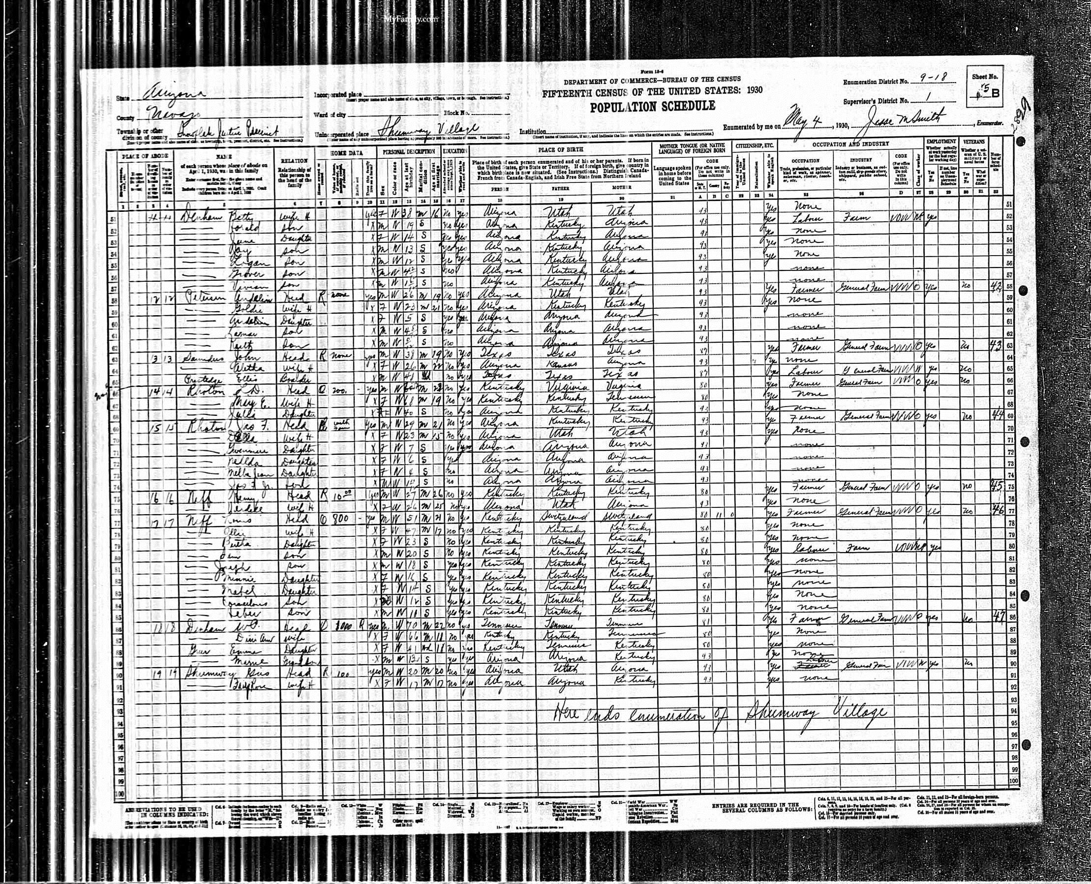 1930 Franklin Parish Denham United States Federal Census taken in Shumway, Arizona.