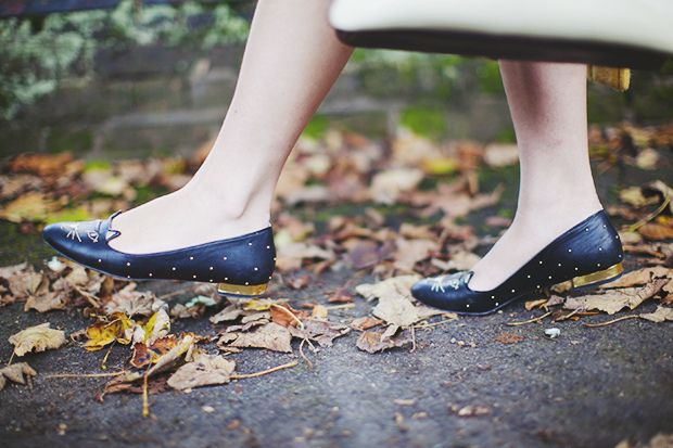 charlotte olympia studded/gilded heel cat flats