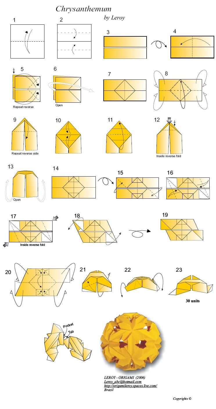 Leaves Art Origami Folded Diagrams And Papercrafts Kusudama