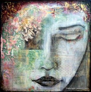 Jenny Grant shares her creative process and advises us to listen to our inner voices and just ENJOY the creative process. How often do we forgot that? You can read more about Jenny here http://www.mixedmediaart.net/mixed-media-inspiration-2/listen-to-your-inner-voice