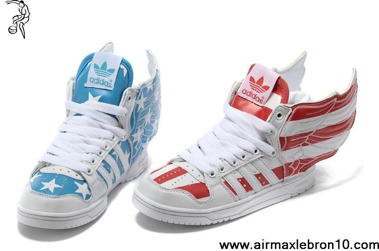 comprare a poco prezzo bambini adidas jeremy scott ali stati uniti flag scarpe blu e rossa