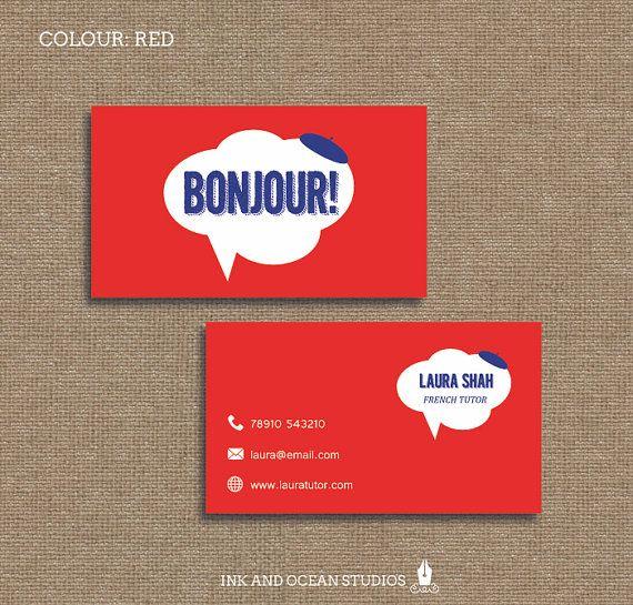 Printable stylish elegant french teacher, tutor, education, bonjour