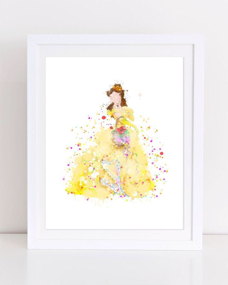Beauty And The Beast Poster Watercolor Nursery Wall Art Printable ...