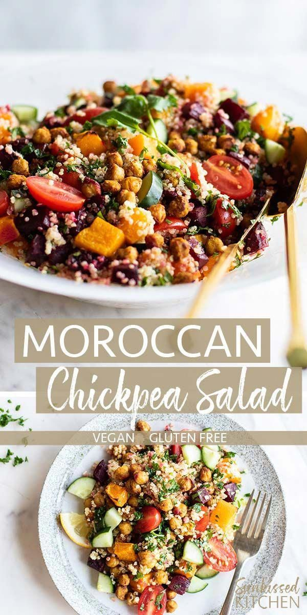 Moroccan Salad / A healthy vegan quinoa chickpea salad loaded with warming roasted veggies and crispy Moroccan spiced chickpeas. The perfect lunch meal prep! | SUNKISSEDKITCHEN.COM |