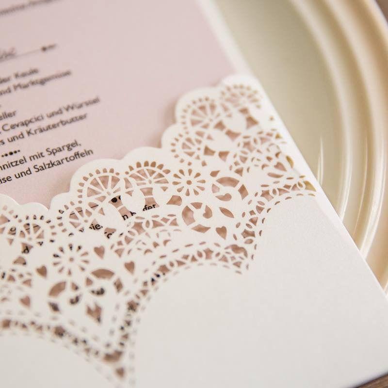 Faire-part mariage dentelle pochette romantique rose poudré