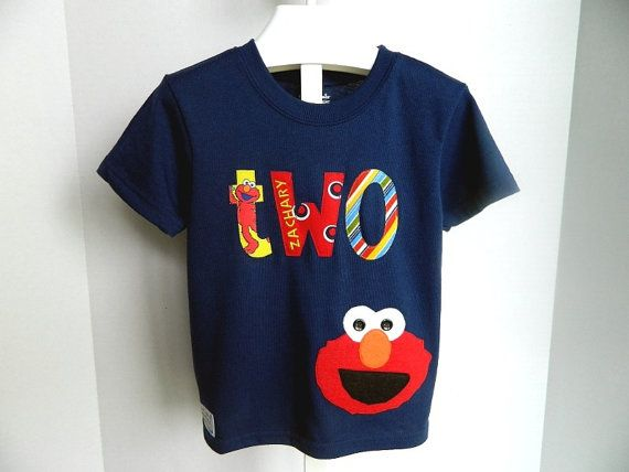 Elmo Birthday Shirt INCLUDES Embroidery Of Childs Nametwo2Available In Upper Or Lower Case Letters By SwizzlestickBoutique