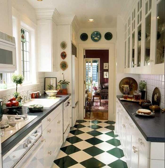 Küchen Bodenfliesen Mit Keramik In Grün Weiß Glänzen Für Landhausstil  Schmal Küche Dekor