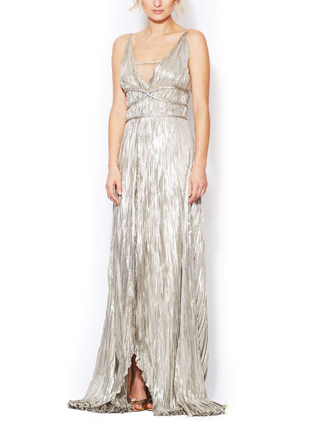 Silk Metallic Goddess Gown by Oscar de la Renta at Gilt