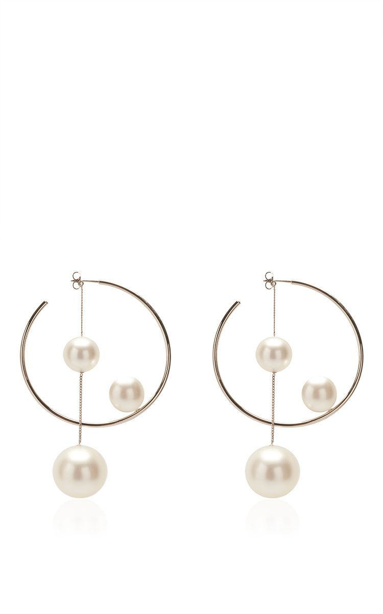 14-karat Gold, Diamond And Pearl Hoop Earrings - one size Mateo Bijoux