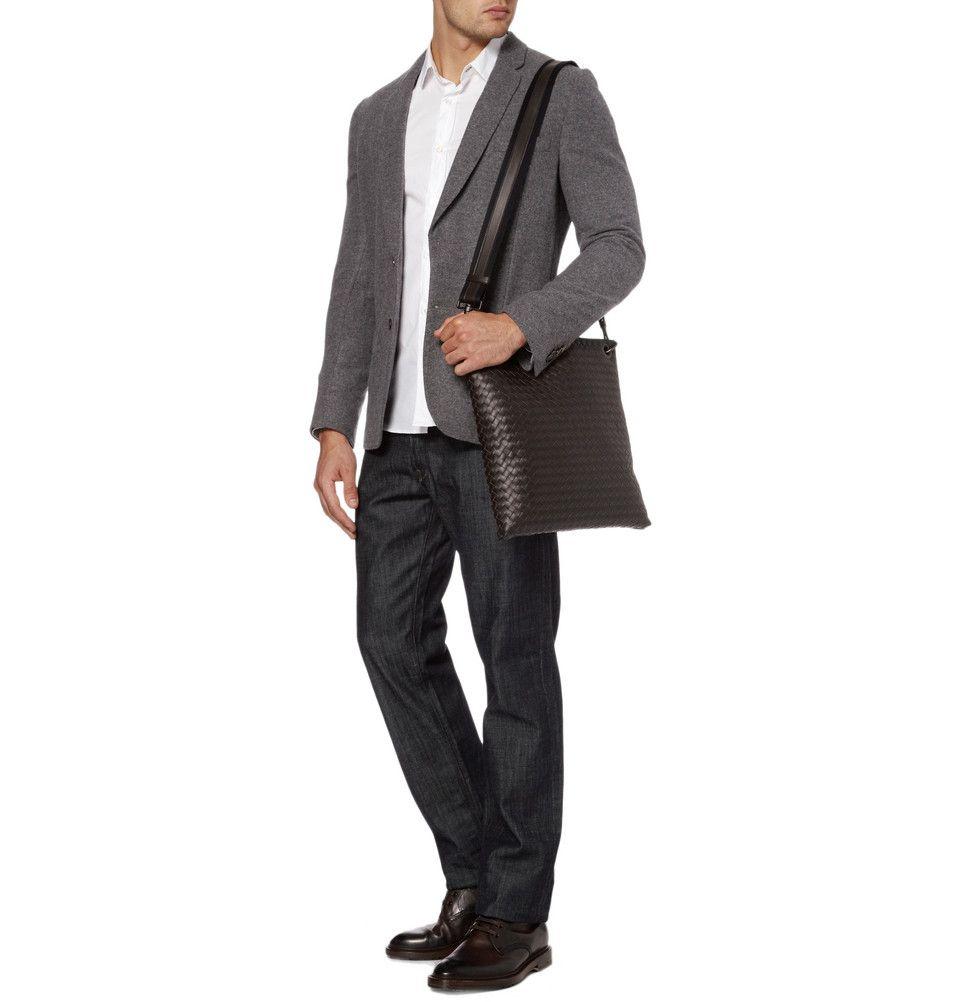 da052b96bf Bottega Veneta Intrecciato Leather Messenger Bag