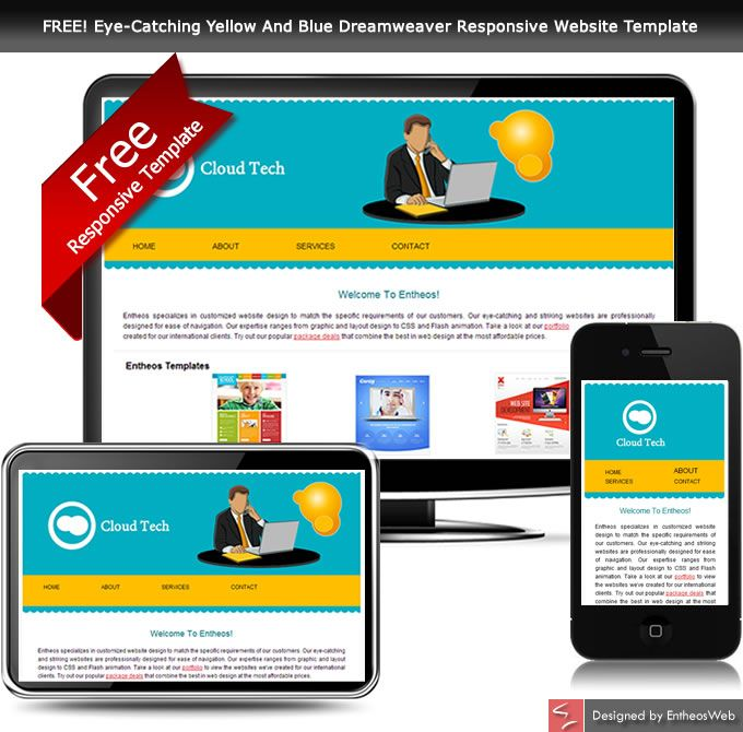 FREE EyeCatching Yellow And Blue Dreamweaver Responsive Website - Template website dreamweaver free