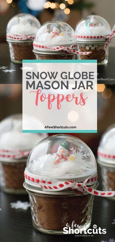 Snow Globe Mason Jar Toppers Homemade christmas gifts, Craft ideas