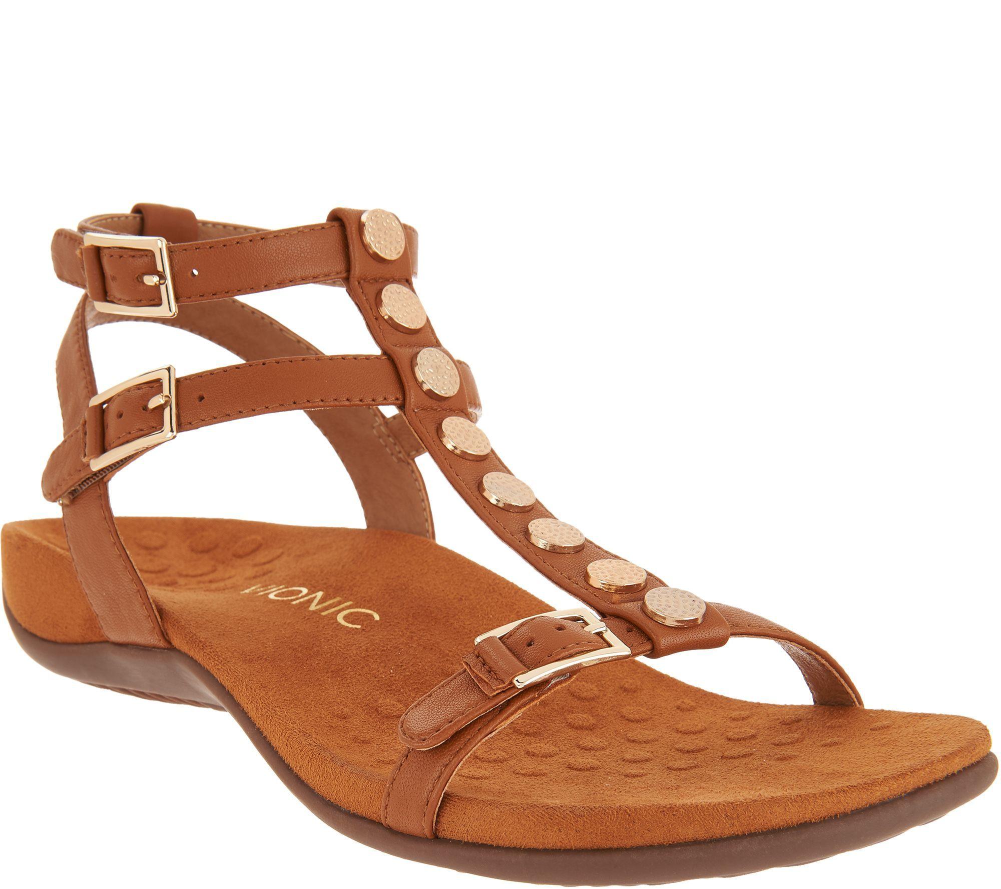 bffa5373a425 Vionic Leather Multi-Strap Sandals - Hailey — QVC.com
