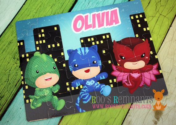 Personalized PJ Masks Puzzle - Cat Boy, Gekko, Owlette Characters