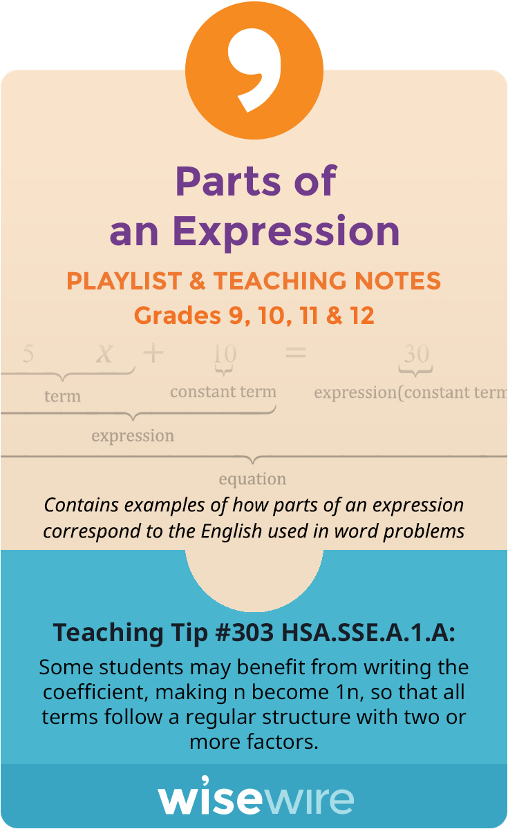 In this playlist, students explore standard HSA.SSE.A.1.A. Students will practice parsing a mathematical expression into its components. They will …