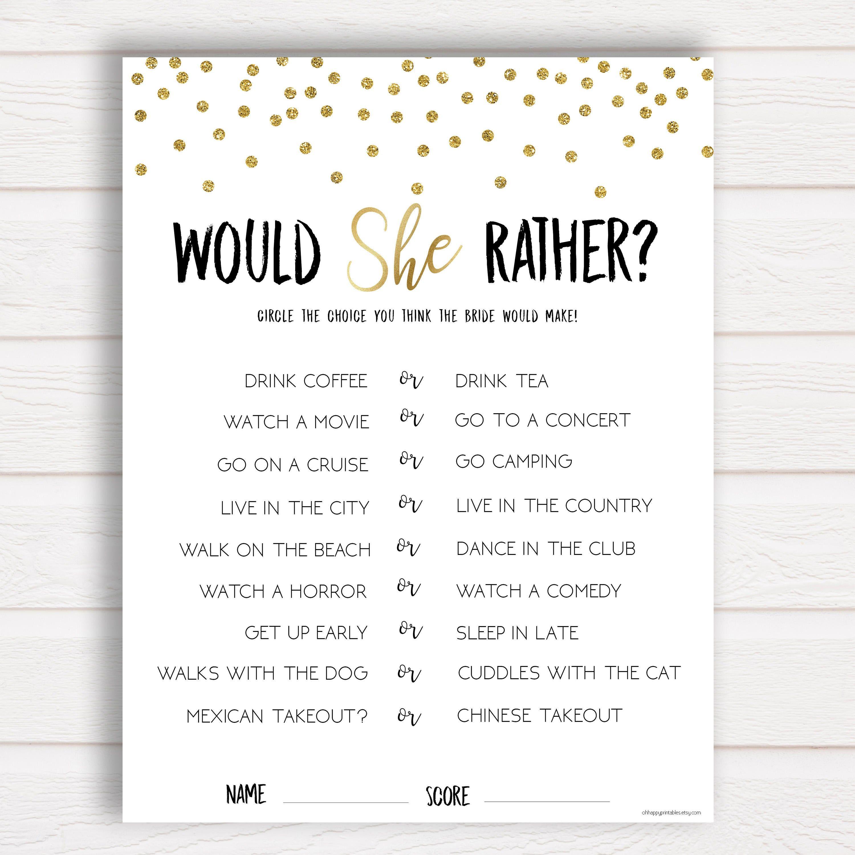 Braut Dusche Spiel Wurde Sie Lieber Braut Dusche Spiele Gold Etsy Hochzeitsspiele Ideen Bridal Shower Brunch Polterabend Spiele