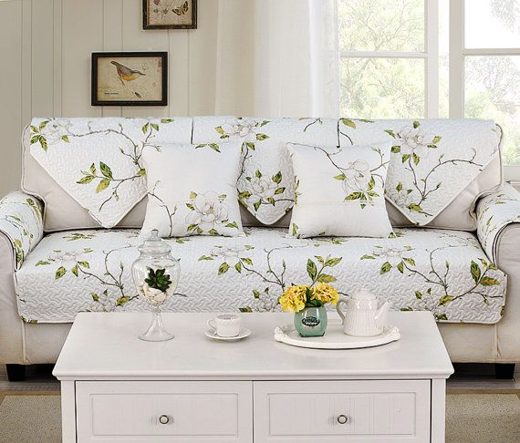 Magnolia Flower Sofa Cover Couch Slipcover Loveseat Cover Cotton White  Green Yellow Home Decor