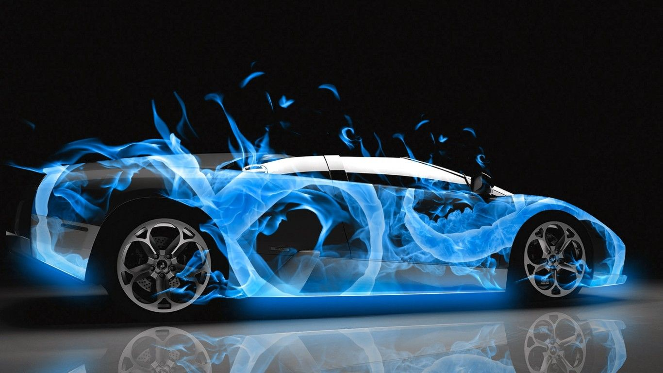 Etonnant Lamborghini Gallardo · Lamborghini Diablo | Lamborghini Murcielago Blue Fire  Abstract Shop Car ...