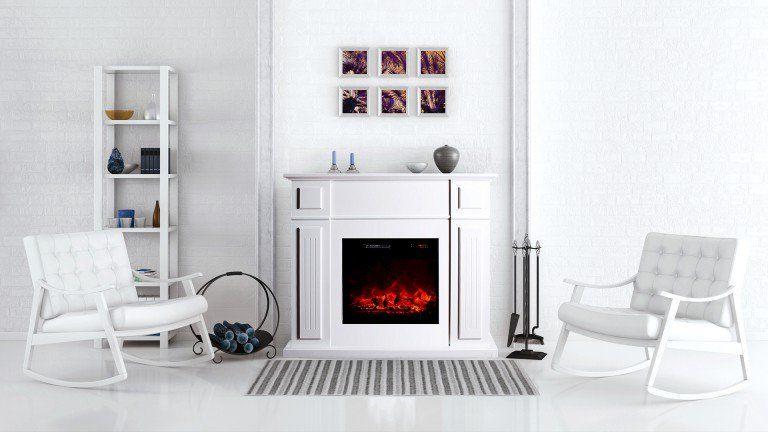Cheminée Électrique Kamin Victoria White Design À Leds - Mobilier
