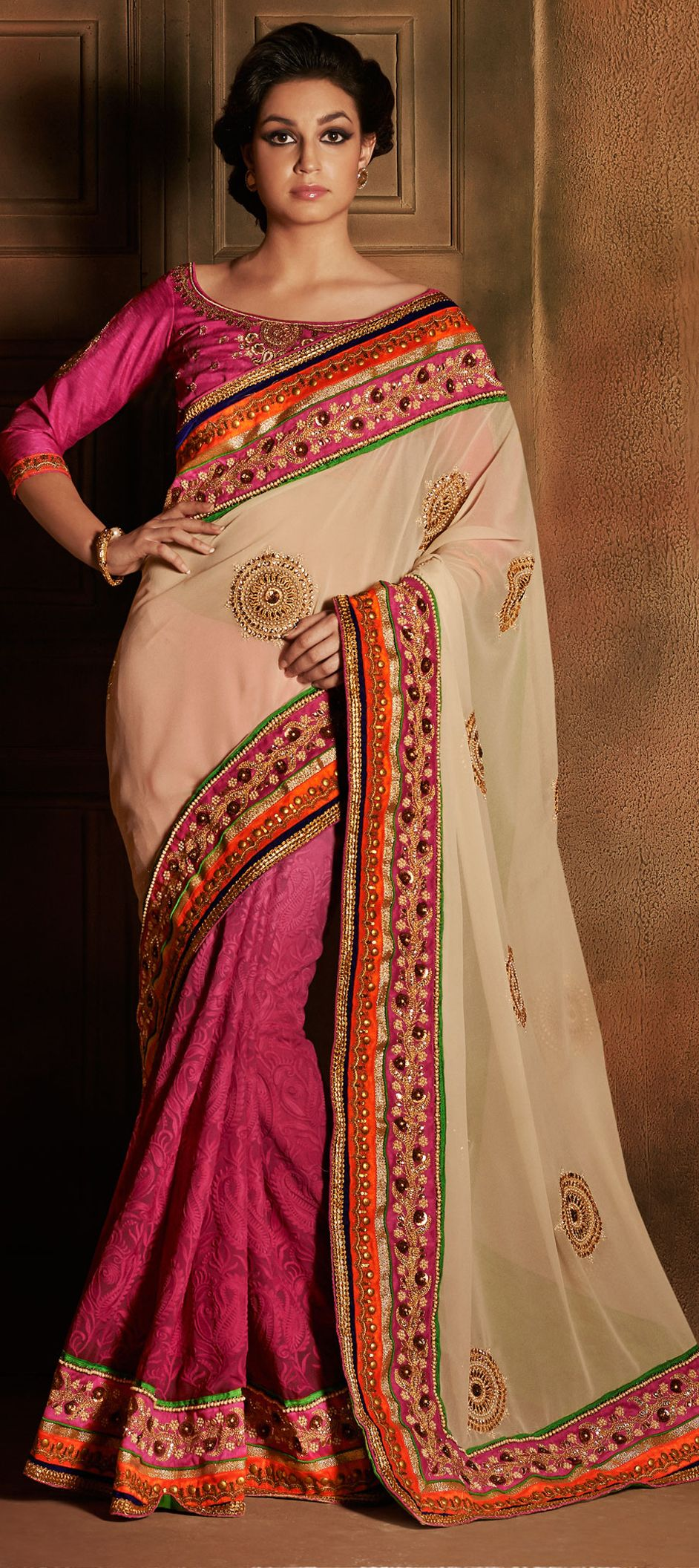 150378: Pink and Majenta, Beige and Brown color family Saree with ...