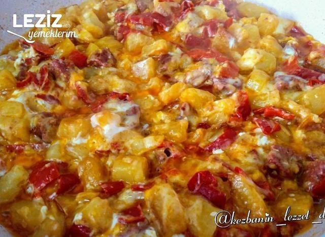 Kahvaltılık Biberli, Sucuklu Patates Kavurması #essentrinken