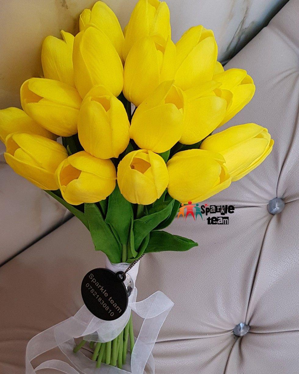 مسكة زفاف ب توليب اصفر شبه طبيعي Sparkle Bouquet Plants