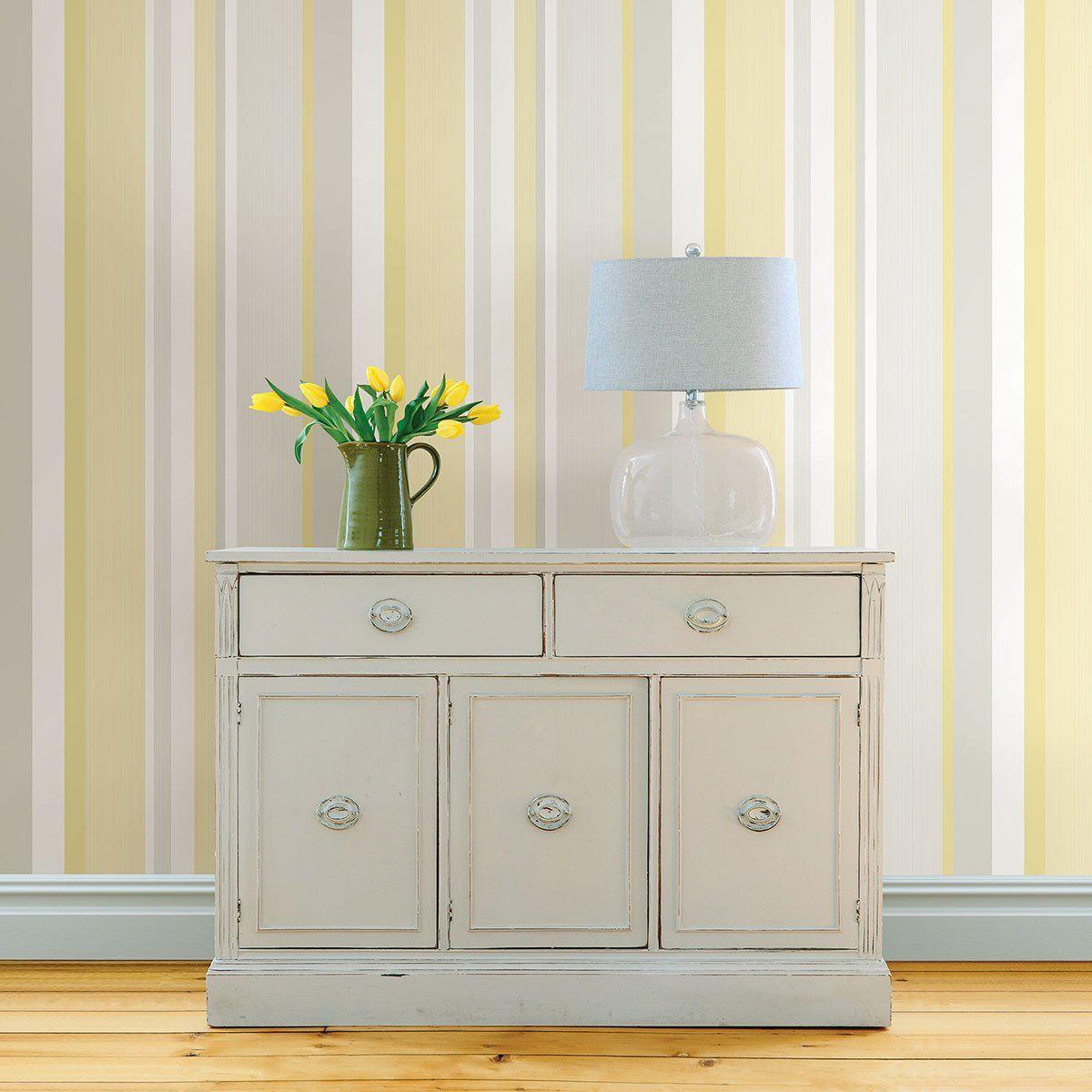 Yellow Awning Stripe Peel and Stick Wallpaper Peel