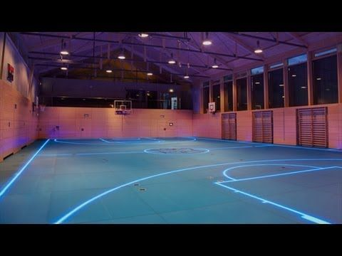 Tron Basketball Court Is A Game Changer So Cool Basketball Court Indoor Basketball Court Basketball Floor