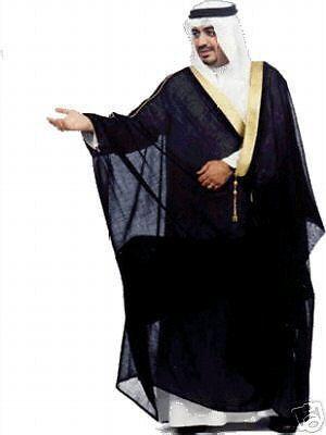 55d0492eb61 Black bisht cloak arab dress thobe islam mens robe eid kaftan jacket ...