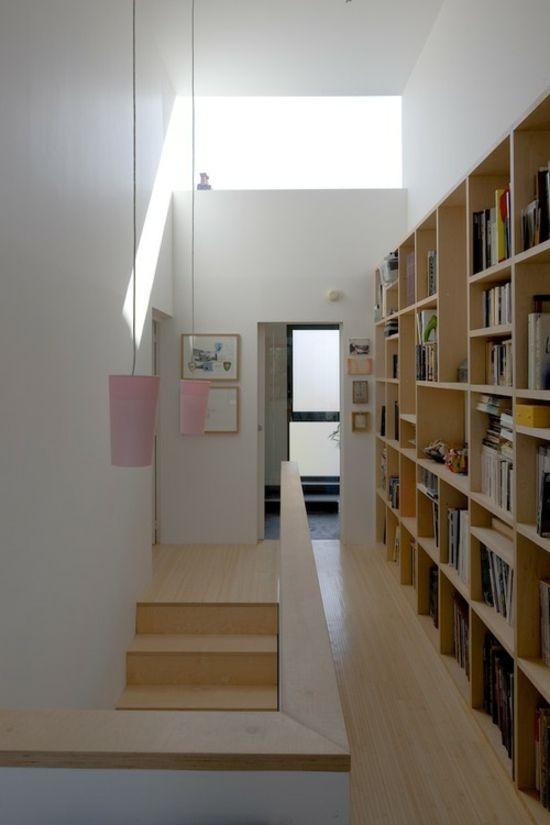 Bücherregal-Flur-Stauraum-Ideen read Pinterest Stauraum - coole ideen fur flurgestaltung