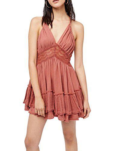 Milumia Women Bohemia Halter V-neck Crochet Lace Backless Cocktail Prom Party Beach Mini Dress