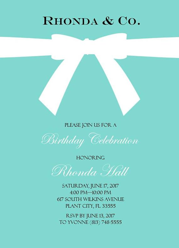 tiffany themed birthday invitation pdf parties pinterest