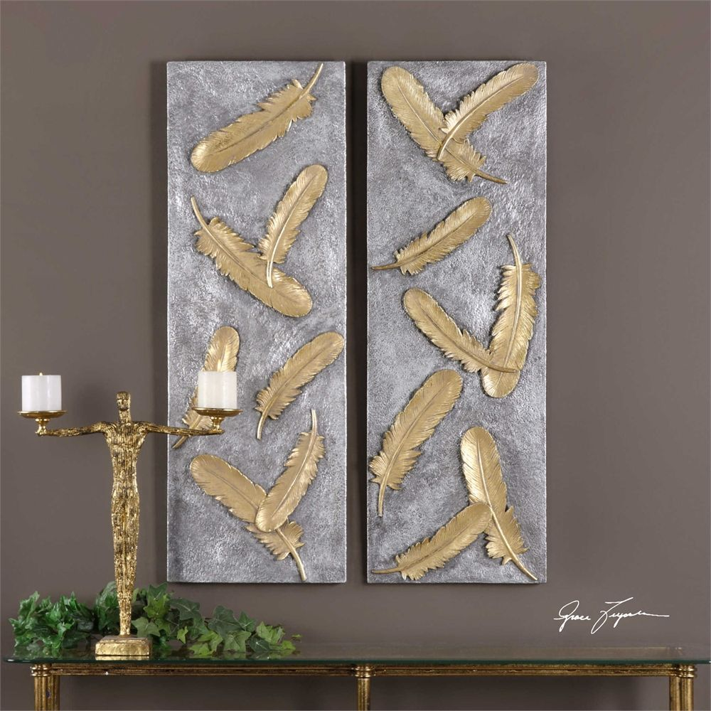 Uttermost Falling Feathers Gold Wall Art Set 2 Feather Wall Art Feather Wall Decor Feather Wall