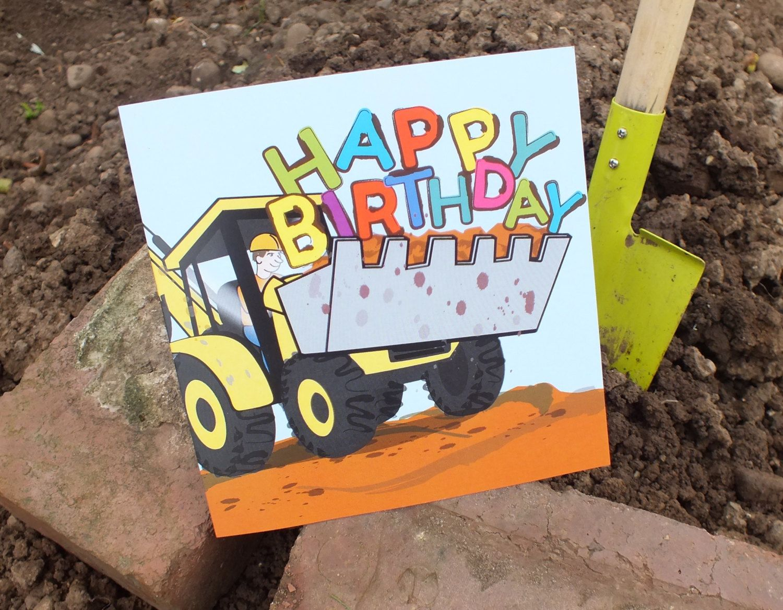 Digger Birthday Card Happy Birthday Greetings Card Etsy Happy Birthday Lettering Happy Birthday Illustration Happy Birthday Greeting Card