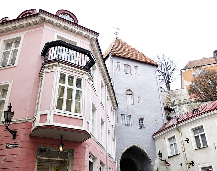 Tallin old town on February. Houses in pastel shades.