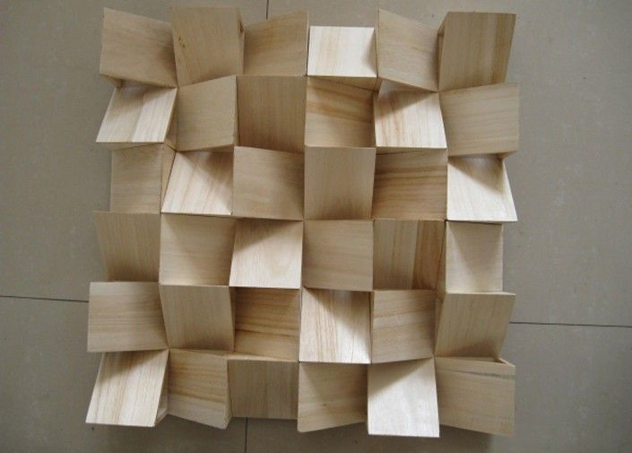 End Grain Feature Wall Using Shading To Adjust Color Diy Wood Wall Acoustic Panels Diy Acoustic Diffuser
