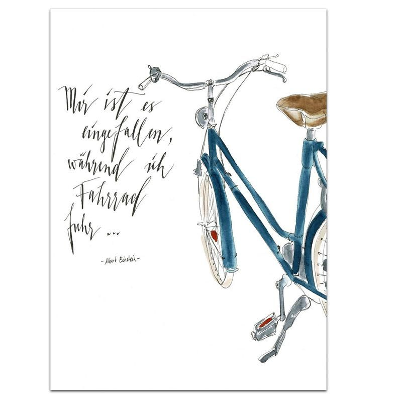 Fahrrad Zeichnung Einfach : wandbild aquarell fahrrad mit spruch in 2020 fahrrad ~ Watch28wear.com Haus und Dekorationen