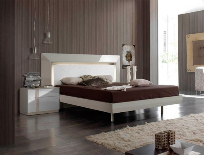 Contemporary High Gloss White and Beige Bed with Opt 2 Drawer ...