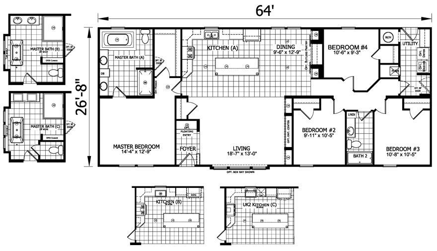 30af48abdbd57b2230d9c29f0983931f the johnston mobile home floor plan is a 27 x 64 1721 sqft double,House Plans Mobile Al
