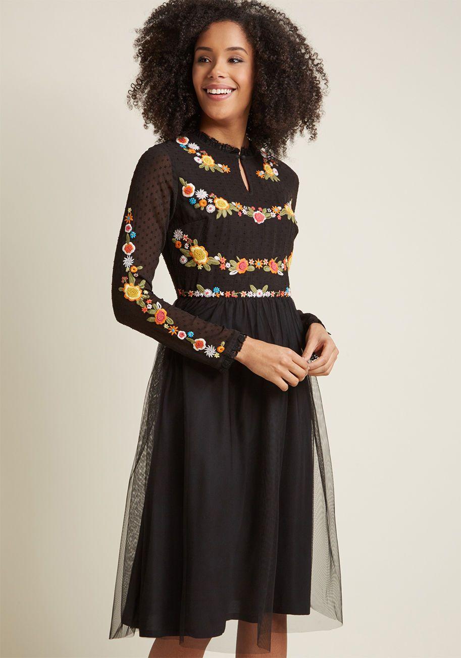 Folklore Embroidered Long Sleeve Dress Long Sleeve Embroidered Dress Long Sleeve Dress Embroidered Midi Dress [ 1304 x 913 Pixel ]