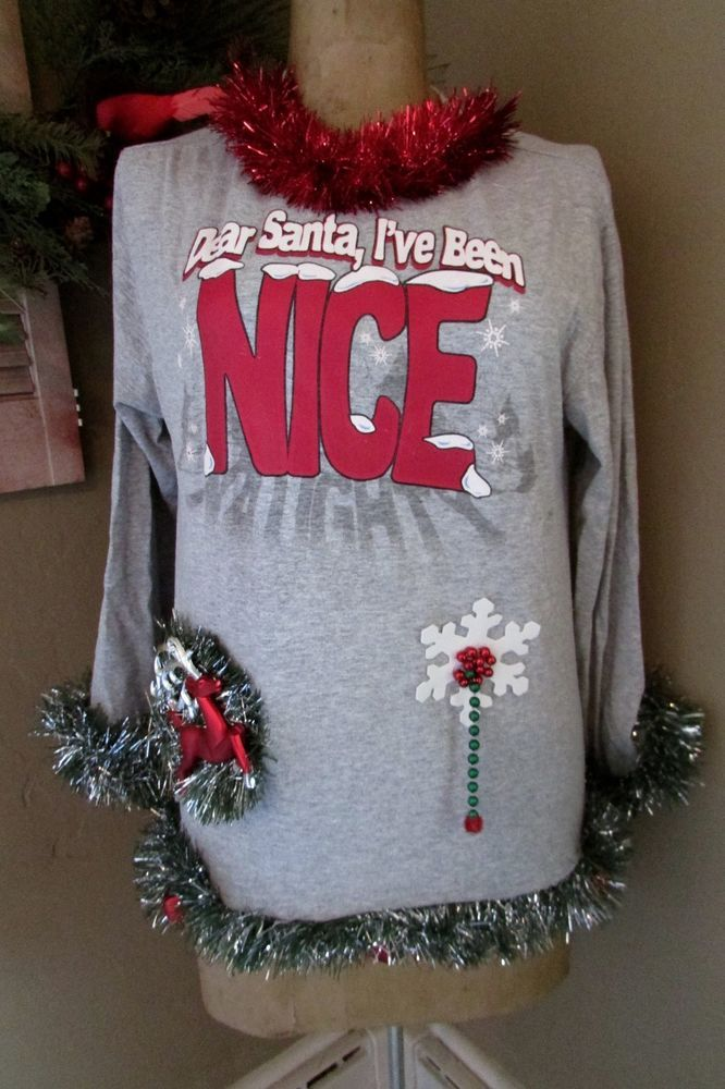 "NICE or Naughty sz M 38""chest Ugly Christmas Party T-Shirt #Ugly #PersonalizedTee"