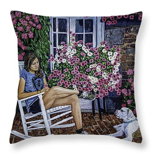 "Girl and her dog Throw Pillow 14"" x 14"""