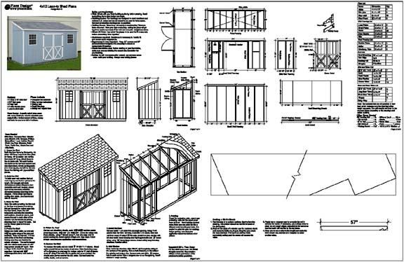 4 X12 Slant Lean To Style Shed Plans See Samples Ebay Lean To